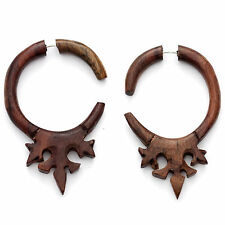 FAKE GAUGE EARRINGS Sono Wood rosewood  F152 carved wooden surgical steel POSTS