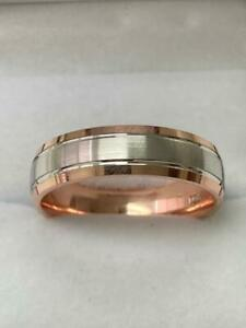 10K SOLID WHITE & ROSE GOLD MENS WEDDING RINGS, TWO TONE GOLD WEDDING BANDS
