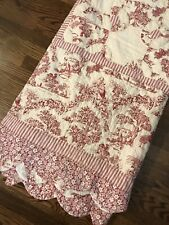 Vintage Toile Red French Country Cotton Quilt Bedspread Twin 69 X 92 Scalloped