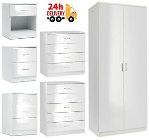 White Chest of Drawers Bedside Table 1 2 3 4 5 Drawer Wardrobe Bedroom Furniture