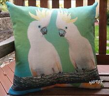 Cotton Linen Cushion Cover Pillow Case Australian Bird White Cockatoo - D1