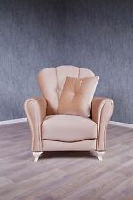 Baroque Fauteuil Chesterfield ancien massif Cappuccino Art COUSSIN