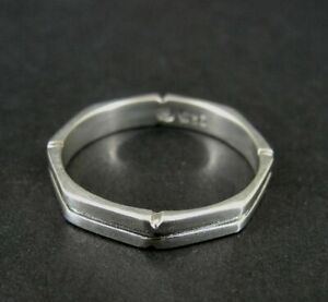 SU Ring Silver Squared Off Lined Band Sterling 925 Size 8 Band Ring