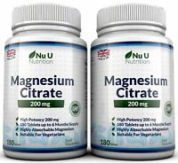 Magnesium Citrate 2 Bottles 200mg 180 tablets UK Made Money back Guarantee Nu U