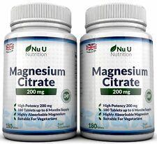 Citrato de magnesio 2 botellas 200 mg 180 comprimidos UK Made nu u de garantía de devolución de dinero