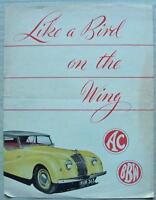 AC SPORTS TOURER BUCKLAND Mk I & II Car Sales Brochure c1947