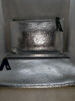 NEW Set of 2 Ipsy Silver Makeup Bags