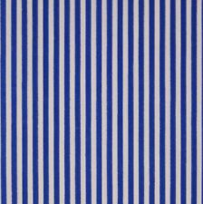 White & Royal Blue 3mm Stripe Polycotton Fabric Pyjama P/Metre