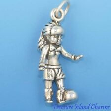 SOCCER PLAYER GIRL FEMALE EURO FUTBOL Ball 3D .925 Solid Sterling Silver Charm