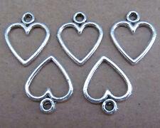 50pc Retro Tibetan Silver Dangle Charms Love Heart Beads Jewelry Findings B048P
