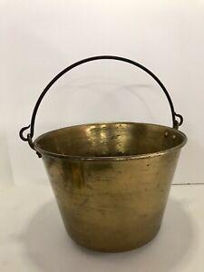 """Vintage Brass Bucket Pail Kettle Pot With Iron Handle Primitive Antique 10.5"""""""