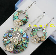 Natural ABALONE SHELL MOP MOTHER OF PEARL CARVED NECKLACE DANGLE EARRING SET