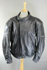 ASHMAN BLACK COWHIDE LEATHER BIKER JACKET WITH PROTECTORS & THERMAL LINING 52 IN