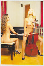 Postcard Nude Pinup Sexy Girls Topless Breast Playing Piano Cello Post Card 7928