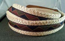 Trafalgar Woven & Leather Trim Belt Size 34 With Southwestern Aztec Diamond Trim
