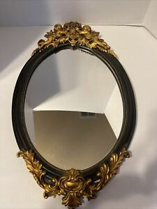 Vintage Mid Century  Oval Wall Mirror w/ Gold Color Ornate Frame. (Trkng ALST)