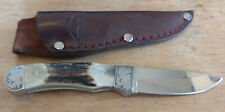 Engraved Gerber Brand fixed blade knife with stag handle