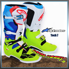STIVALI CROSS ENDURO ALPINESTARS TECH 7 2018 YELLOW FLUO WHITE BLUE TG. 45.5