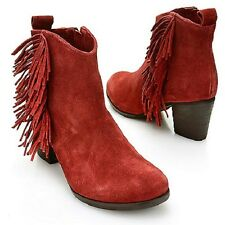 MATISSE CLOEY SUEDE LEATHER FRINGE DETAILED SIDE ZIP ANKLE BOOTS PICK SIZE COLOR