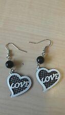 heart-shaped pendant earrings wedding Jewelry slilver wihte black color Love