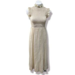 Vintage 70s Candi Jones Size 7 Organza Maxi Dress Smocked Bodice Eyelet Beige
