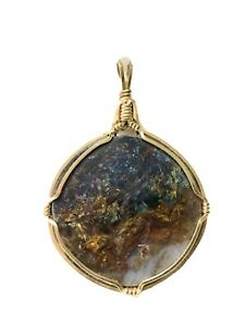 Natural Round Multicolored Stone Gold Filled Wired Pendant