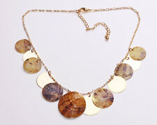 LADIES GOLD / BROWN LAYERED CHUNKY NECKLACE UNIQUE STATEMENT (ZX31)