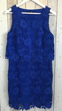 WOMENS LACE DRESS 12 S COLBAT BLUE FLORAL WEDDING GUEST SUMMER PARTY OCCASION