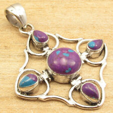 """Old Style Pendant 1 7/8"""" ! Purple Copper Turquoise 5 Gems Silver Plated Jewelry"""