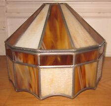 "XLNT Vintage Retro Two-Tone Caramel Slag Glass Panel Leaded 12"" Table Lamp Shade"