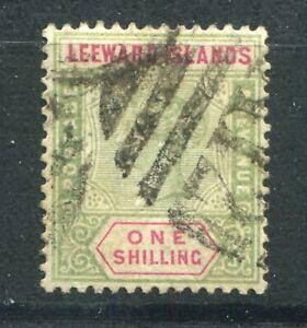 QV LEEWARD ISLANDS 1890 ISSUE 1/- SG 7 FINE USED (2)