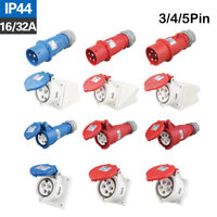 Red 16A-32A Industrial Plug & Sockets 5 Pin IP44 3 Phase Plugs and Sockets