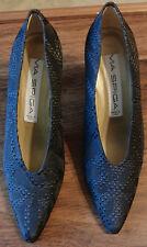 NEW Via Spiga Patterned Black Silk Heels Pumps in Size 6.5 B