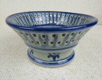 Vintage Blue & White China Open Weave Pedestal Raised Fruit Dish Bowl