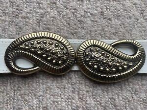 80s Style Belt Paisley Design Belt Buckle. Gold Colour Metal. New