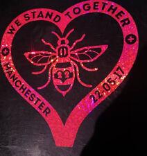 Manchester Bee Heart Decal CAR Van Window Sticker l Love glitter rainbow PINK