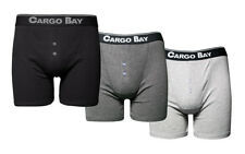 Cargo Bay 3 Pairs Mens Boxer Shorts DESIGNER Waistband Button Fly Boxers Grey M