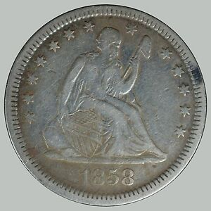 1858 25C Liberty Seated Quarter - Nice Coin VF details -