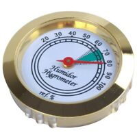 1pc 43mm Calibrate-able Gold frame Round hygrometer For Cigar box Metal T1A3