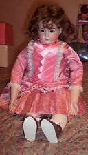 """Antique 24"""" Armand Marseille 370 AM German Bisque Doll Open Mouth Leather? Body"""