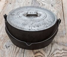 Antique Marietta Casting Co. 3-1/2 Gal. Cast Iron Oval Dutch Oven Kettle w/ Lid