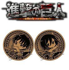 Slaps Attack On Titan Shingeki no Kyojin Cup Mat Cork Coaster Set A Eren Mikasa
