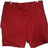TALBOTS WOMAN Women's Chino Style Walking Bermuda Shorts RED Size 22W NEW