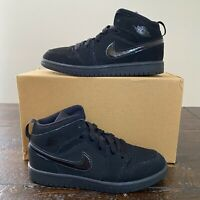Air Jordan 1 Mid Size 2Y 'Triple Black' Air Force 1 Nike Dunk Sb High Low Retro