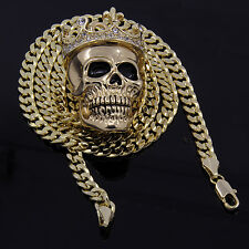 "Men's Gold Plated King Head Skull Pendant 30"" Cuban Chain Hip-Hop Necklace D782"