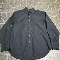 Robert Graham Mens Long Sleeve Size Large Classic Fit Crown Embroidered Shirt