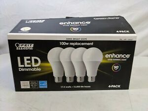 Feit Electric Led Dimmable 3000K Bright White 100w Replacement 4 Pack 17.5 Watts