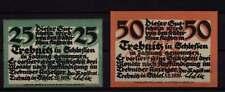 [16818]  - 2 x Notgeld TREBNITZ (heute: Trzebnica), Stadt, 25 + 50 Pf, 05.11.192