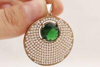 Turkish Handmade Jewelry Round Cut Emerald Topaz 925 Sterling Silver Pendant