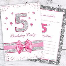 5th Birthday Party Invites - Pink with Faux Silver Glitter - A6 Size (Pack 10)
